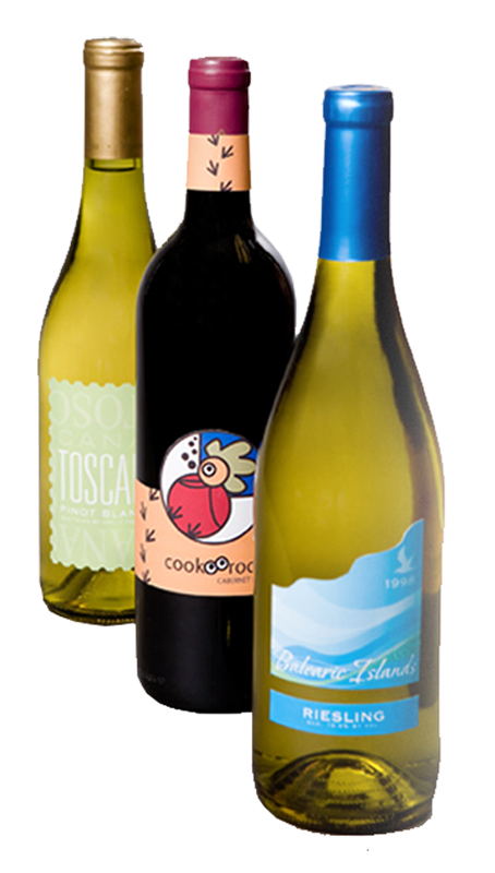 3 wine bottles with labels